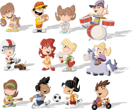 friends eating: Group of happy cartoon children playing