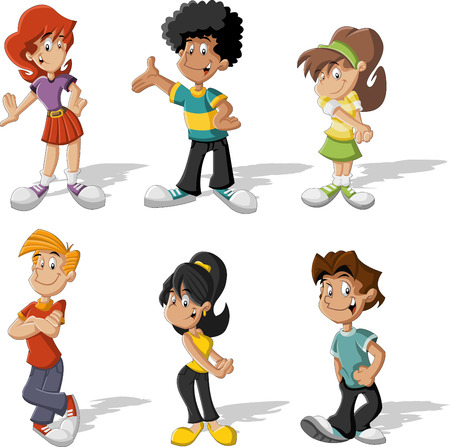 Group of cartoon young people  Teenagers  Vector