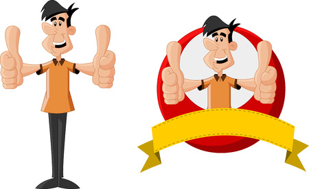 Cartoon man smiling with thumbs up