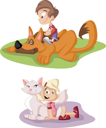 Colorful cute happy cartoon boy and girl with dog and cat  Pets  Vector