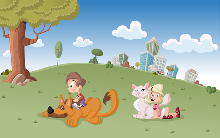 dog park: Colorful cute happy cartoon boy and girl with dog and cat on city park