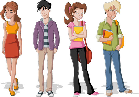 Group of four cartoon young people  Teenager students