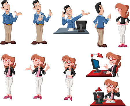Happy cartoon couple in different poses working on computer Vector