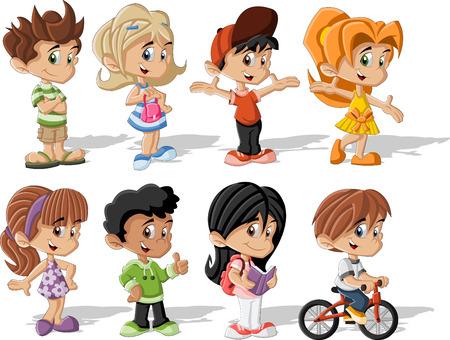 幸せな漫画の子供たちのグループ  イラスト・ベクター素材