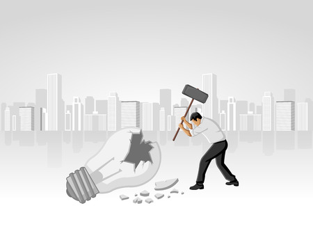 destroying: Business man breaking light bulb  Destroying idea
