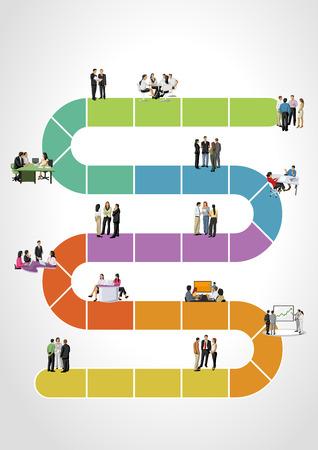 Modelo para folheto de propaganda com empresários sobre o fluxo de trabalho