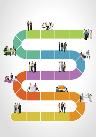 Template for advertising brochure with business people on work flow Ilustração