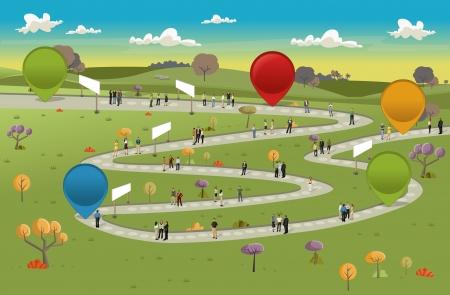 tabule: Desková hra s obchodními lidí nad cestě na zemi se stromy