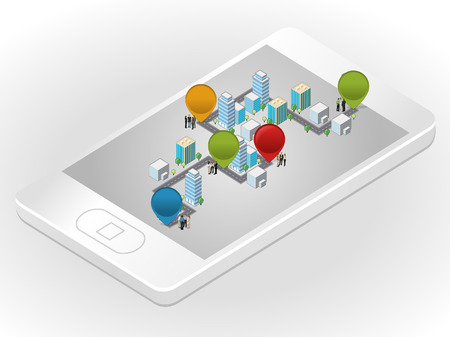 Template with business people in the street of a isometric city over smartphone Vector