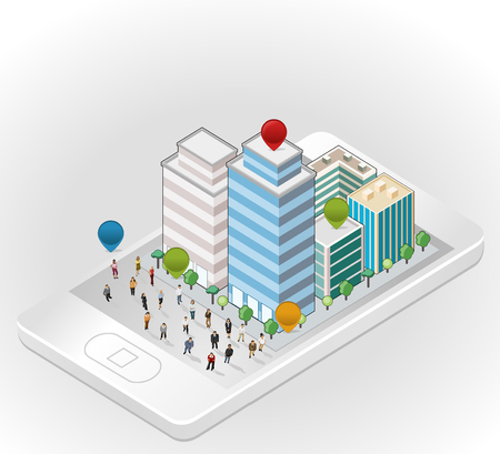 smart phone woman: Template with business people in the street of a isometric city over smart phone