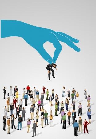 unsure: Scegliere la persona giusta su un gruppo di uomini d'affari Assumere selezione Vettoriali