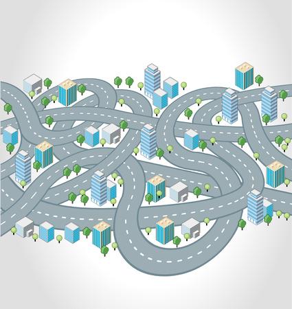 狂気の通り、高速道路、等尺性都市の接合  イラスト・ベクター素材