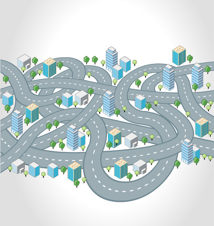 Crazy streets, highways and junctions of a isometric city Çizim