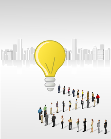 queue people: Template with a crowd of business people standing in a line to reach a idea Illustration