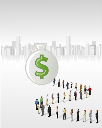 Template with a crowd of business people standing in a line to reach a money bag Stock Vector - 22610220