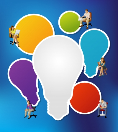 Colorful template with business people on chairs with light bulb ideas Stock Vector - 22610226