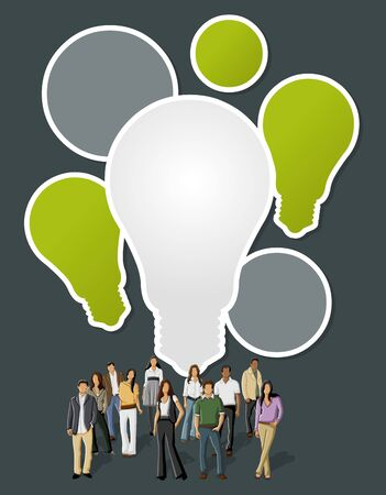 Green template with business people with light bulb ideas Stock Vector - 22610227