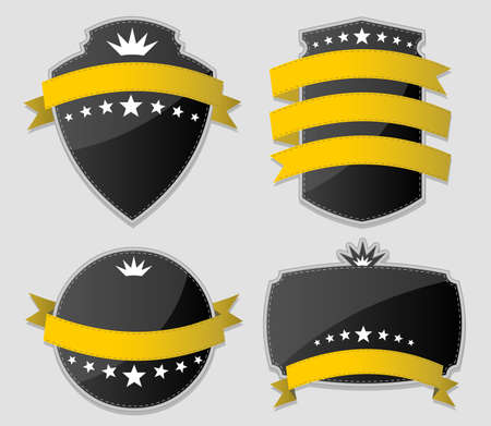 Yellow and black design elements  Set of paper stickers   Illustration