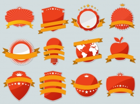 Red design elements  Set of paper stickers   Vector
