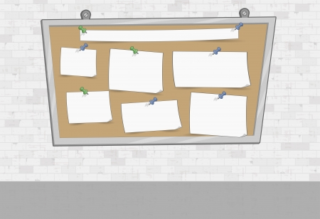 White brick wall with papers on a big board  Push pins and paper stickers   Vector