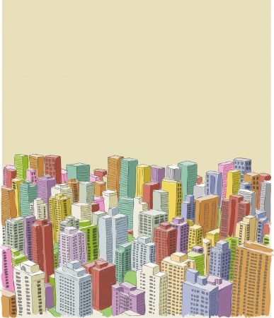 Big colorful city landscape with buildings Stock Vector - 22610260