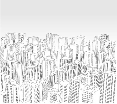 financial district: Big black and white city landscape with buildings