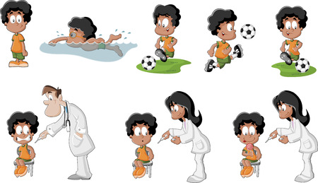 Cute playful cartoon black boy playing soccer, football, swimming, and getting an injection in arm   Vector