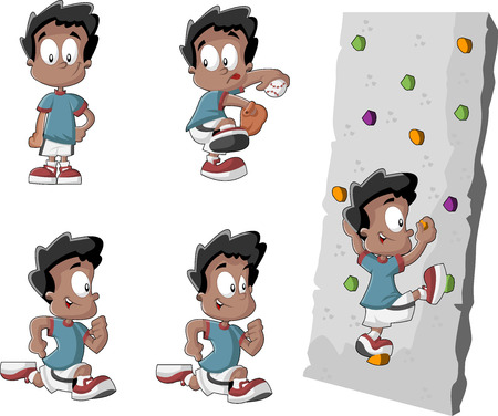 Cute playful cartoon black boy playing baseball, running and climbing a wall