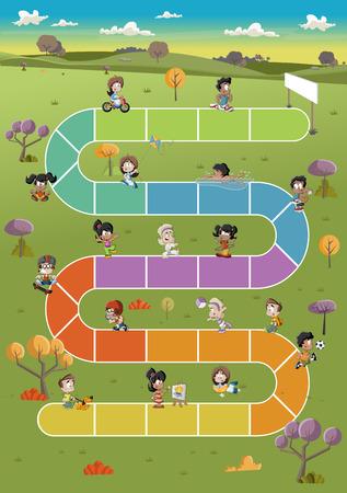 deportes caricatura: Juego de mesa con los niños felices de la historieta que juega sobre ruta de acceso en el parque verde