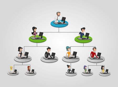 Business people on hierarchy tree using computer