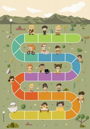 juego: Juego de mesa con los ni�os felices de la historieta que juega sobre ruta de acceso en el parque verde