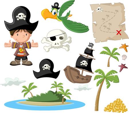 isla del tesoro: Pirata del muchacho de la historieta con el pirata conjunto de iconos Vectores