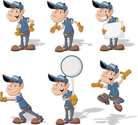 obrero caricatura: Trabajador de la historieta con el uniforme y el sombrero azul