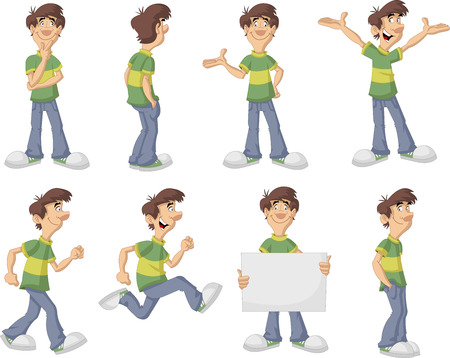 Cartoon man with green shirt on different poses Vector