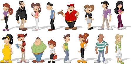 幸せな漫画、人々 の大きなグループ  イラスト・ベクター素材
