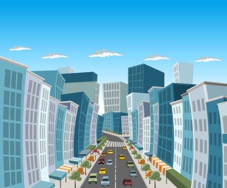 Street of downtown city with buildings and cars Vector