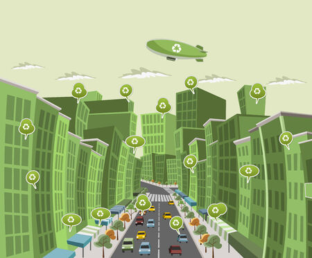 sidewalk talk: Street of downtown green city with speech balloon with recycle icon Illustration