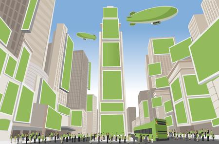 タイムズ ・ スクエア, マンハッタン, ニューヨーク米国の緑の服を着て人々 の大きなグループ  イラスト・ベクター素材