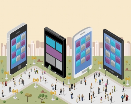 handphone: Business people in a city with smart phones Illustration