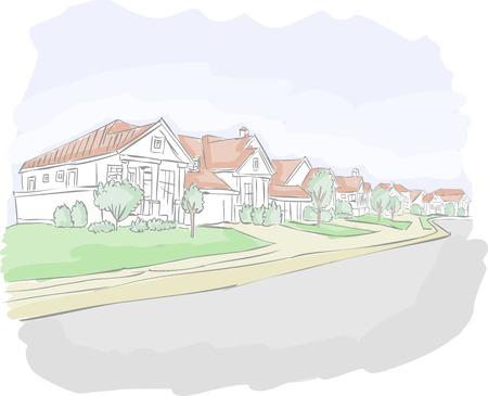 근교: 다채로운 교외 지역에 만화 도시