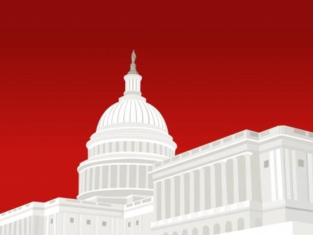 アメリカ合衆国議会議事堂でワシントン DC  イラスト・ベクター素材