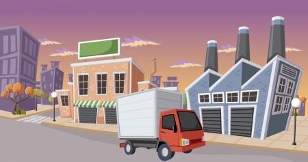 Fabriek in de stad met kleine vrachtwagen geparkeerd op de straat Stock Illustratie
