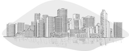 Big black and white city landscape with buildings Vector Illustration
