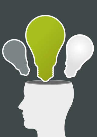 Green template of a human head with light bulb ideas Vector