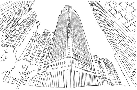 Big black and white city landscape with buildings