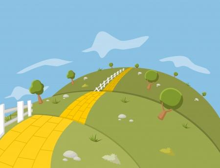 緑の丘の上の黄色いレンガの道  イラスト・ベクター素材