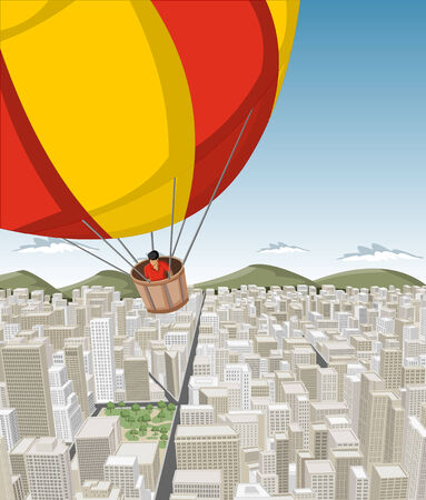 Hot air balloon over big city with buildings  Downtown  Vector