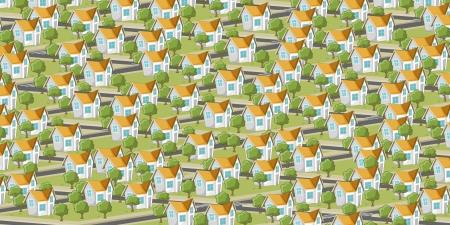 근교: 아이소 메트릭 주택 만화 도시 다채로운 교외 지역 일러스트