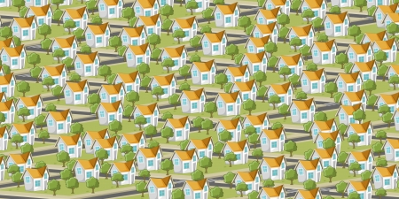 Colorful suburb neighborhood with isometric houses  Cartoon city   Vector