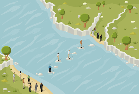 river rocks: Business people trying to cross a river Illustration